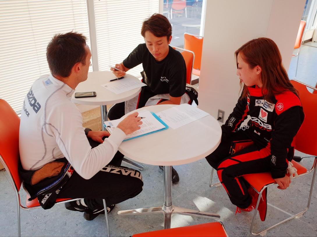 Working with Tsutsumi-san & Kitahira, discussing Mazda Raceway Laguna Seca.