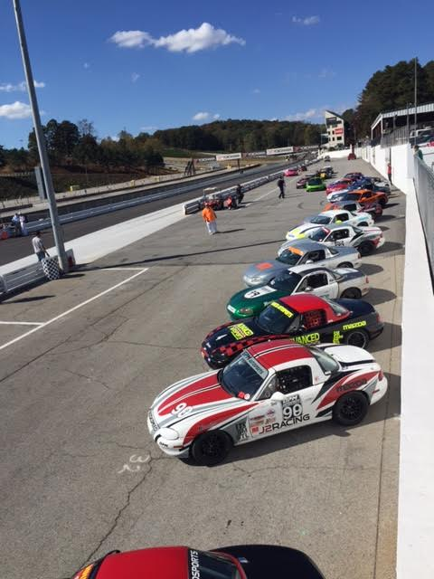 A full field of Spec Miatas about to take the track at Road Atlanta's American Road Race of Champions.