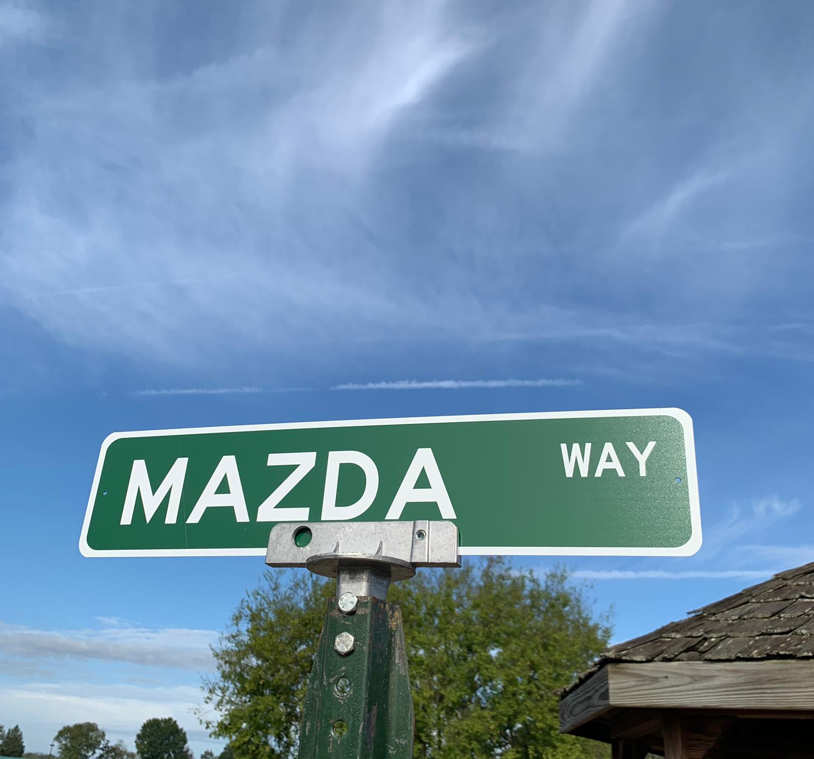 The Mazda paddock even got their own street sign  at the Runoffs this year!