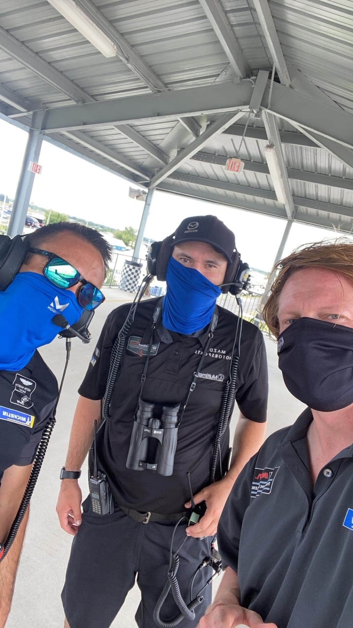 Still having fun while staying safe! (Right - LMP3 driver Stevan McAleer, Center - my brother Chris, spotter extraordinaire, Left - random guy)