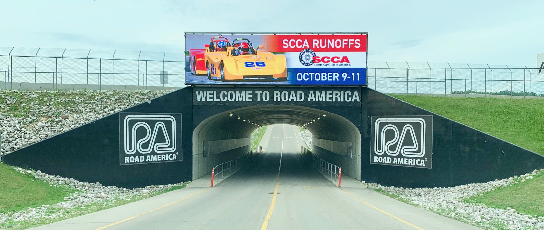Always an exciting feeling to travel into the main entrance tunnel to Road America!