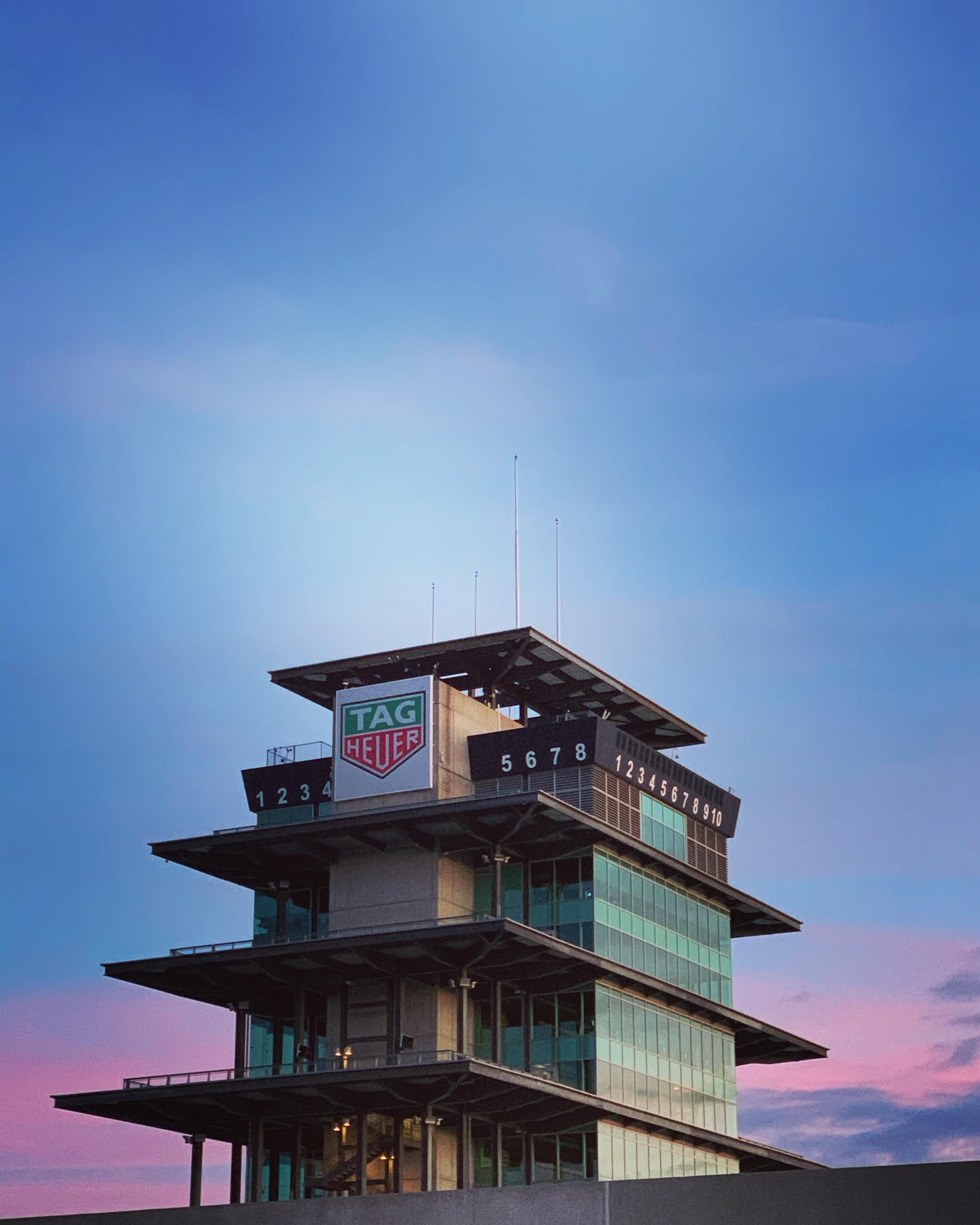 Sunrise over the famed Pagoda tower at Indianapolis Motor Speedway.